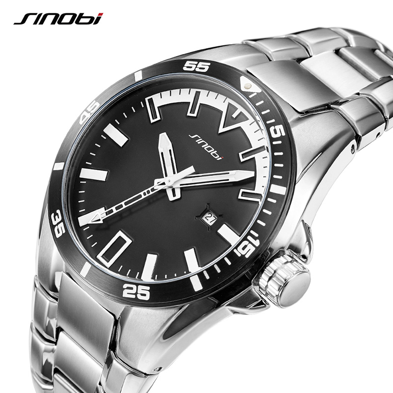 SINOBI Watches Mens Luminous Hands Clock 2018 Top Brand Luxury Full Steel Quartz Watch Male Wristwatch Relogio Masculino #1252 mce top brand mens watches automatic men watch luxury stainless steel wristwatches male clock montre with box 335