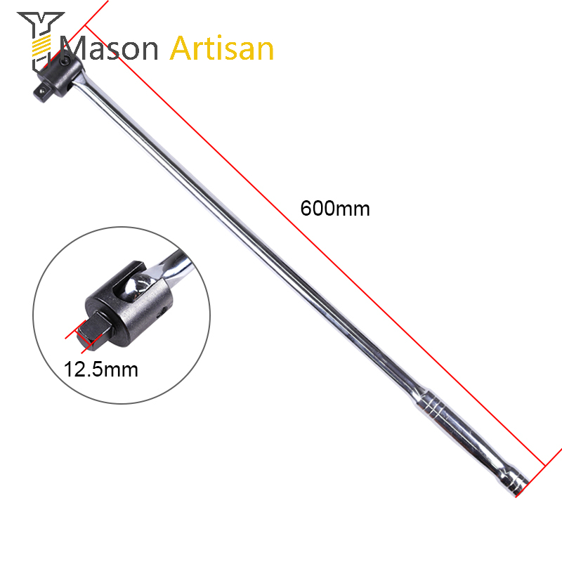 1Piece 24 Long 1/2 Breaker Bar Socket Driver 180 Degree Flex Head with Spring-loaded Ball Bearing Socket Wrench Hand Tool