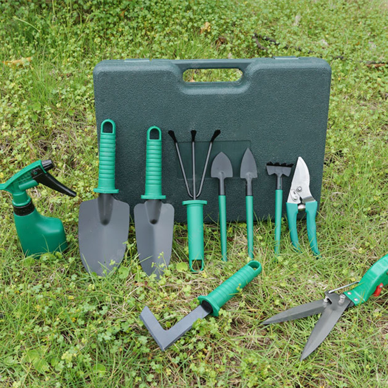 10 Pcs set Garden Tools Set with Trowel Pruner Rake Shovel Grass Shear Watering Household Multifunctional Tool Plastic Storage in Water Cans from Home Garden