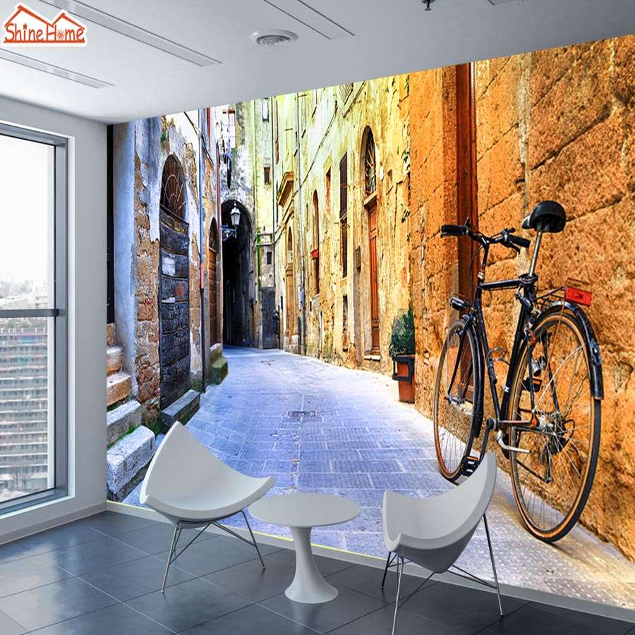 ShineHome-Large Custom 3D Picture Wallpaper Old City Street Bicycle Wallpapers for 3 d Living Room Sofa TV Background Wall Paper shinehome abstract brick black white polygons background wallpapers rolls 3 d wallpaper for livingroom walls 3d room paper roll