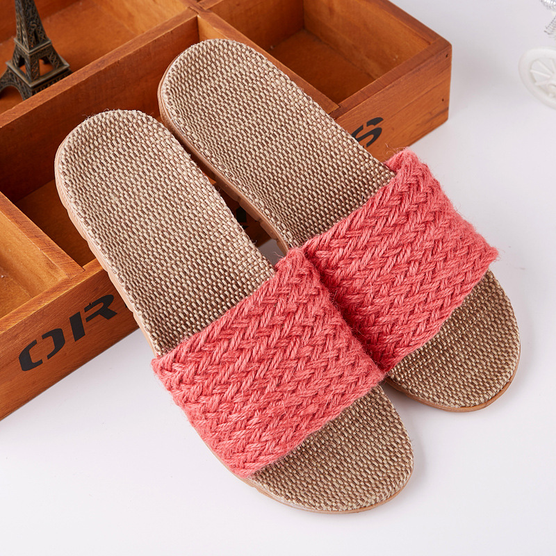 Suihyung New Indoor Slippers Women Summer Shoes Breathable Linen Open Toe House Flip Flops Home Casual Ladies Soft Bottom Sandal