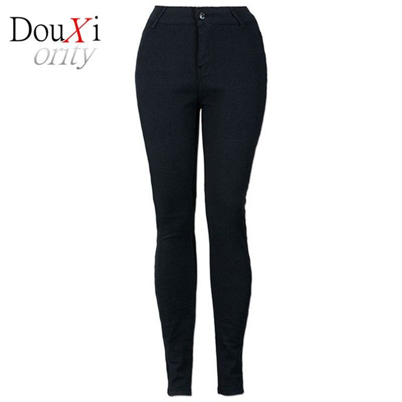 black Big Yards Lmitation Jeans Pants Women 2017 Spring Autumn Elastic Waist Trousers Ladies Vintage Pencil Slim Skinny Jeans 2016 autumn winter lmitation jeans pants