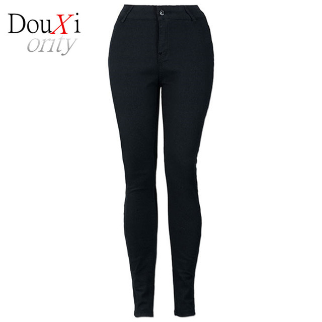 black Big Yards Lmitation Jeans Pants Women 2017 Spring Autumn Elastic Waist Trousers Ladies Vintage Pencil Slim Skinny Jeans