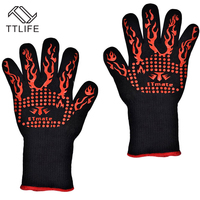 TTLIFE Thick Silicone 932F Heat Resistant Multi Purpose Baking Opening Jars Baking Gloves Barbecue Glove Grilling