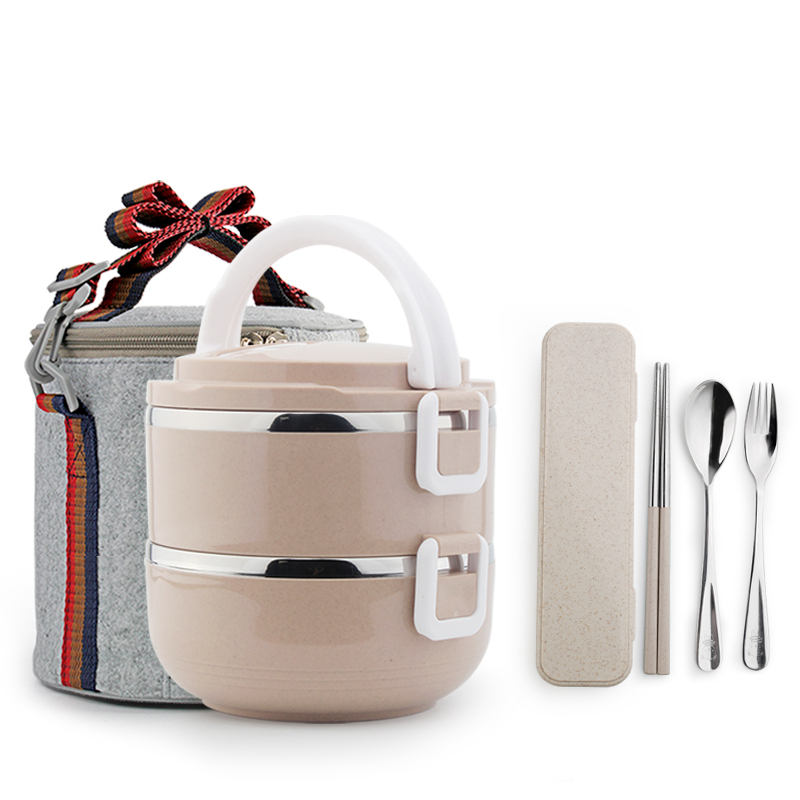 High Quality LunchBox Dishes and Plates Sets Two Layer Stainless Steel Thermal Bento Lunch Box with Bag for Food Containers