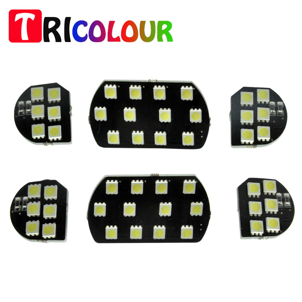 TRICOLOUR 6x/set For Citroen C5 PEUGEOT 307 308 Perfect Fit Complete Set Car interior Reading Trunk Light Panel Kit 12V  #LDK26 переходник carav 12 226 iso t citroen 2003 peugeot с разъемом most