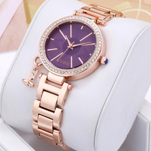 Luxury Guou Brand Simple Diamond Ladies Gold Band European luxury Rhinestone Quartz Wristwatches