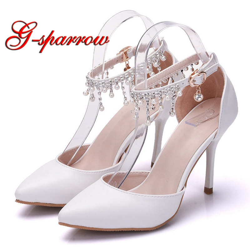 a75ea80008b Women White High Heel Shoes Ankle Straps Summer Sandals Pointed Toe Wedding  Bridal Dress Shoes Daughter