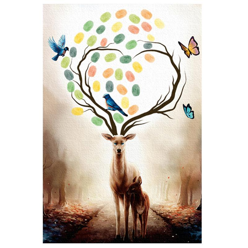 10 styles available Wedding Tree Guestbook Fingerprint Painting Signature Canvas Baby Shower Marriage Gift Wedding Decorations