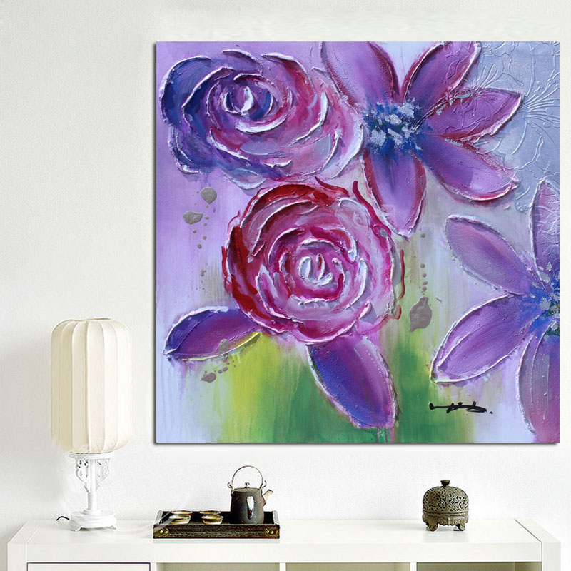 Purple Flower Oil Painting Abstract Wall Art Picture: Print Modern Purple Poppies Colorful Flower Abstract Oil