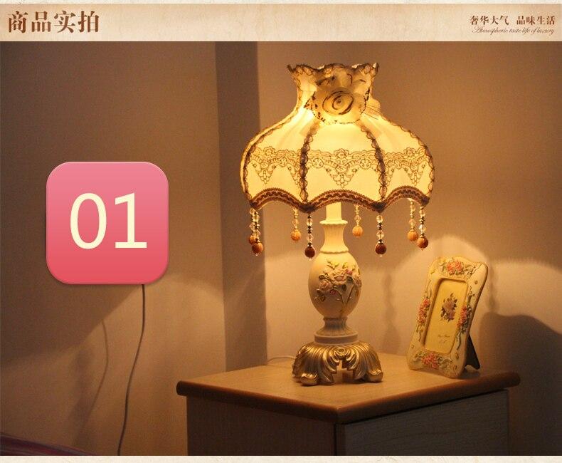Модные настольная лампа спальня ночники брак украшения деревенский кружева принцесса затемнения смолы настольная лампа