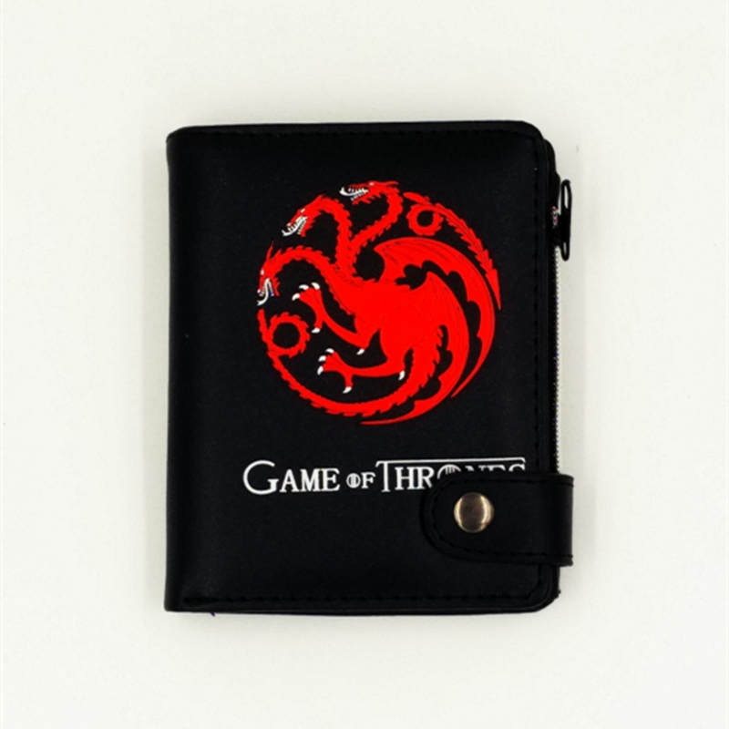 Wholesale Badge purse Targaryen of Game of Thrones wolf and dragon wallets man's favorite wallet with cion pocket zipper red dragon man wallet game of throne pu purse fire blood logo wallets portal game short money carteiras portfel