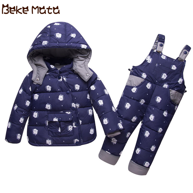 BEKE MATA Baby Winter Coats Girls Set 2018 Thick Warm Kids Down Jacket Boys Toddler Girl Clothing Set Coat+Pant Snowsuit Clothes winter baby girls clothing sets hooded velvet jacket pant suit children warm thick clothing set toddler kids snowsuit set