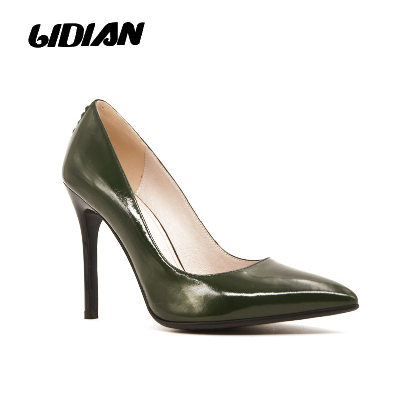 Lidian High Heels Pumps Real Leather Ladies Shoe Green