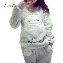 ArtSu ArtSu Autumn And Winter Coral Fleece Pajamas Set Warm Cute Owl Pajamas Thickened Suit Long Sleeve Sleepwear Clothing 9123