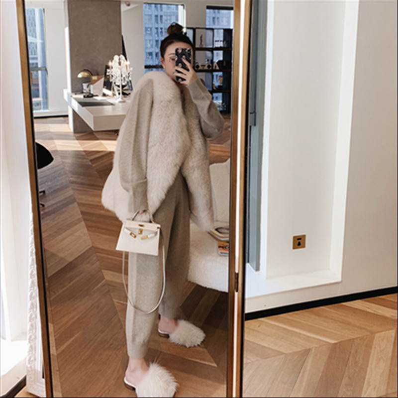Autumn winter Knitted tracksuit sweatshirts Casual Suit Women clothing 2 Piece set Knit pant Sporting suit Female