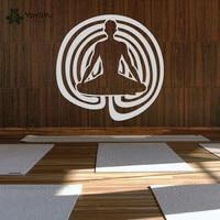 Yoga Lotus Pose Vinyl Wall Decal Buddha Asana Symbol Wall Decal Meditation Home Decor Art Mural