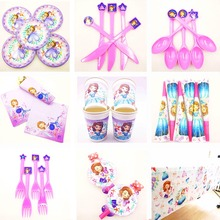 Sofia  Princess Kids Birthday Party Decoration Set Supplies cup plate banner hat straw loot bag fork napkin