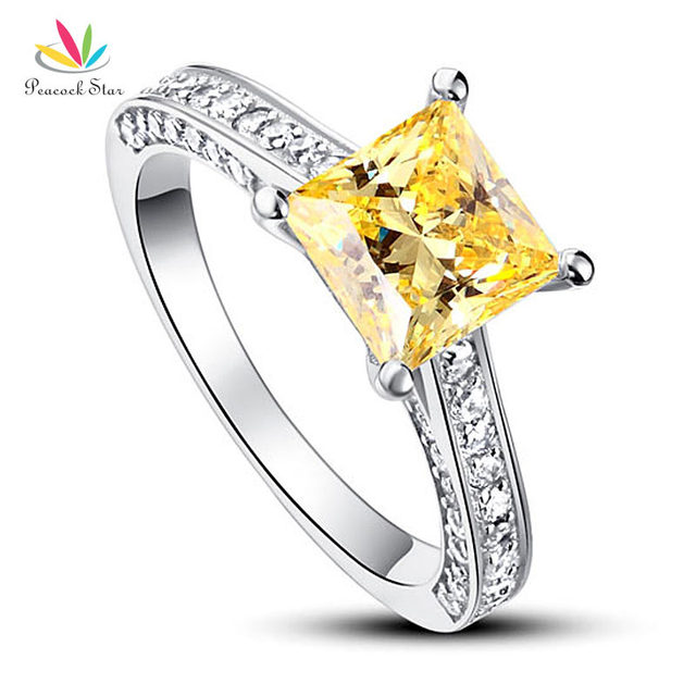 b42d916b6efe8 Peacock Star 1.5 Ct Princess Cut Yellow Canary Solid 925 Sterling Silver  Wedding Promise Engagement Ring CFR8194-in Rings from Jewelry & Accessories  ...