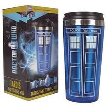 Heißer Verkauf Arzt Dr. Who Tardis Kaffeetasse Mit Deckel Kaffee Flasche Edelstahl Innen Thermosbecher 450 ml Kreative geschenke