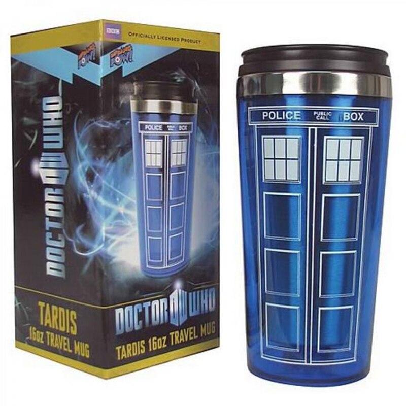Venta caliente doctor dr. who TARDIS taza de café con tapa botella de café Acero inoxidable interior moda taza 450 mL creativo regalos