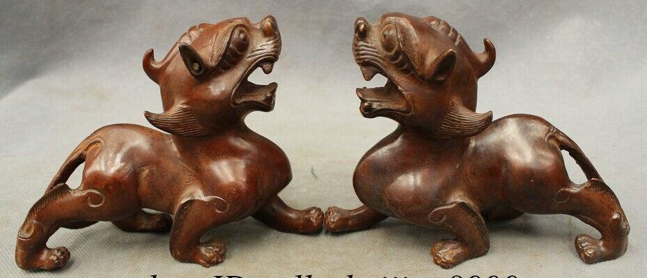 JP S0606 16CM Chinese Bronze FengShui Beast Unicorn Foo Fu Dog PiXiu Lion Statue Pair Set