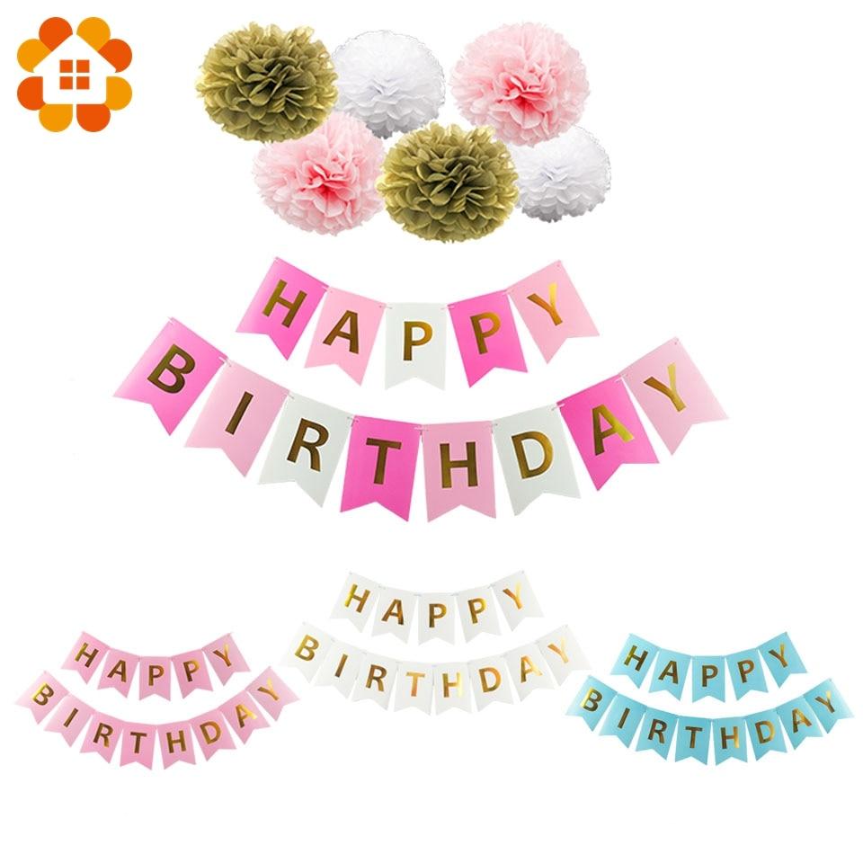 Boy&Girl Theme Happy Birthday Banner 1st Birthday Pompoms 1 Year old Baby Shower Wedding Decoration DIY Party Supplies