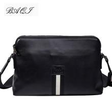 BAQI Brand Men Handbags Genuine Leather Shoulder Bag Crossbody Messenger Cowhide 2019 New Fashion Casual