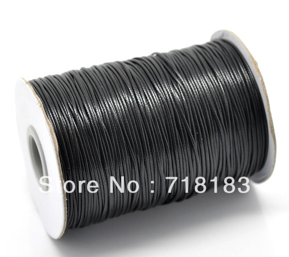 DIY Cords 1 roll(180M) Black Waxed Cotton Cord 1mm Wax Rope for Shamballa Bracelet/ Necklace
