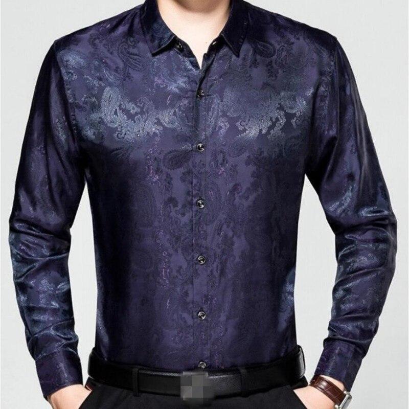 Classique Hommes Nouveauté Loisirs Mince Pour Longues black Homme red Chemises D'affaires Impression Hauts Manches 2019 Soie Printemps Gentlmen Floral Blue q57wd5
