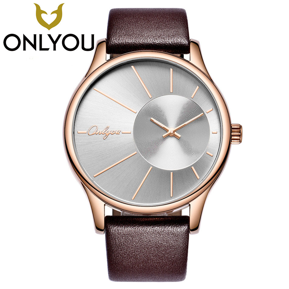 ONLYOU Fashion Casual Lovers Watches Top Brand Luxury Business Leather Quartz-Watch Men Women Fashion Wristwatch Wholesale fashion ecg pattern quartz watch women men popular my love cool boy casual watch unisex wristwatch for women men lovers