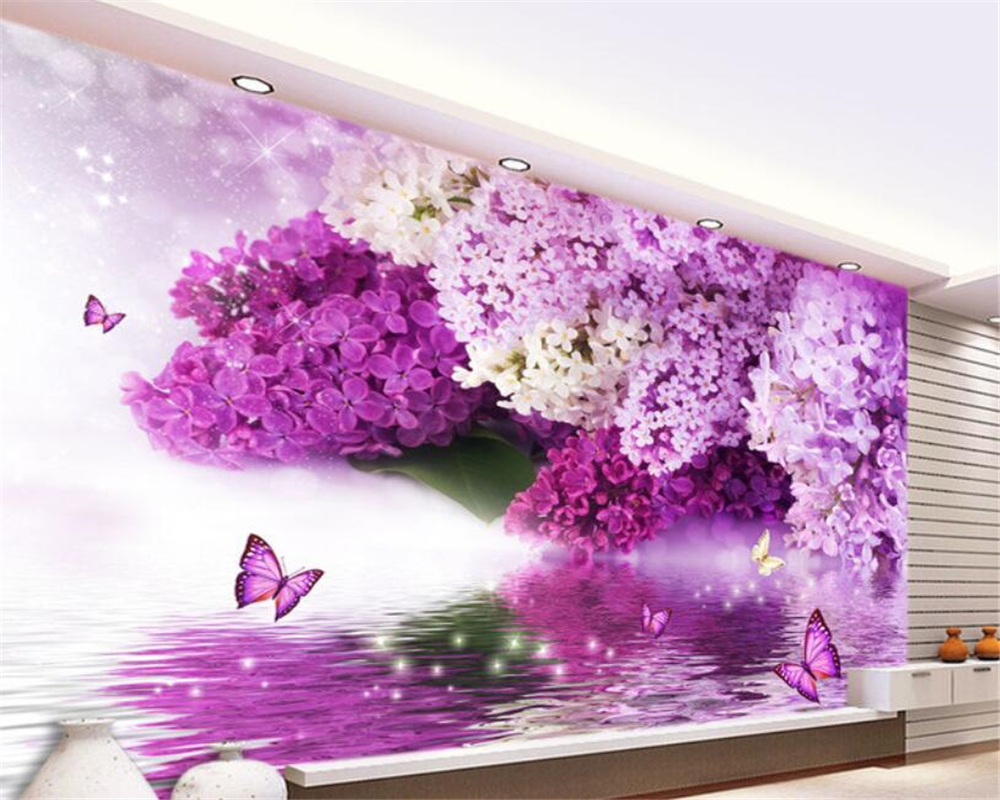 Custom 3D Wallpaper Purple Flowers Reflection Butterfly Background Wall wall papers home decor papier peint Beibehang