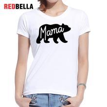 REDBELLA Polera Mujer Print Mama Black Bear Abstract Art Design Animal Pattern Vintage White Cotton Tshirt Female Retro Clothing