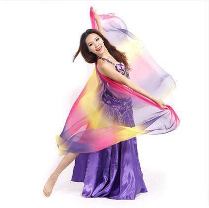 Nuovo stile di danza del ventre accessori Imitazione di seta danza del ventre veli per le donne danza del ventre colori 2.1*1.1Mveils