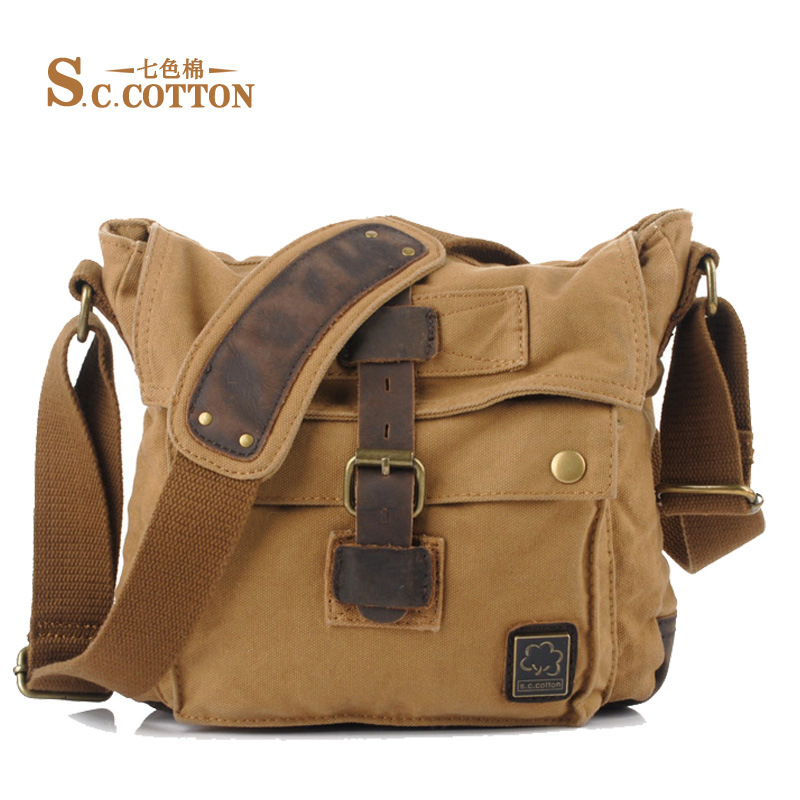 Men Women Single Shoulder Bag Canvas Fashion Vintage String Messenger Bag Casual Travel Men Women Canvas Messenger Bags
