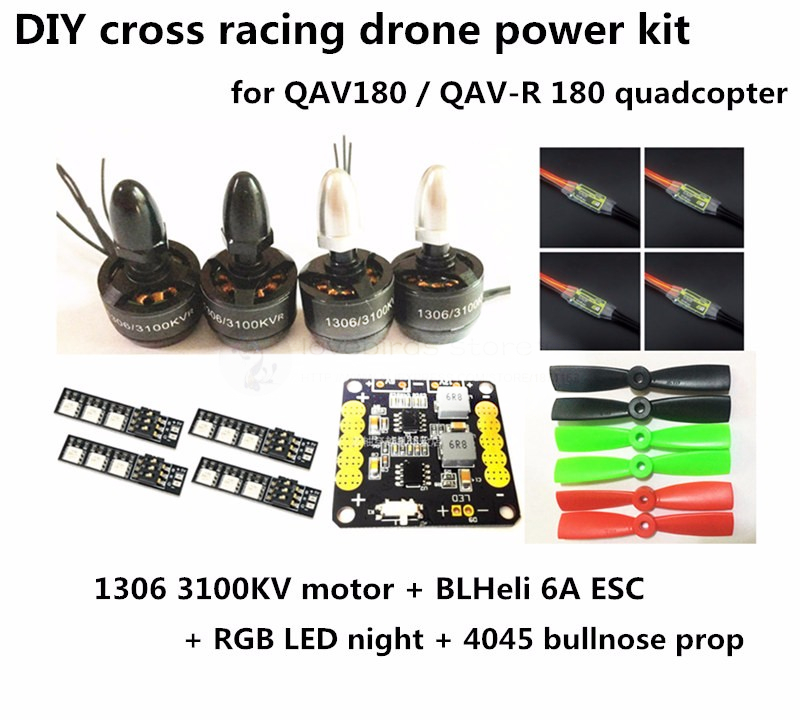 DIY FPV cross racing mini drone power kit NAZE32 + 1306 3100KV + BL6A ESC OPTO+ 4045 BN prop for QAV180 / QAV-R 180 quadcopter f04305 sim900 gprs gsm development board kit quad band module for diy rc quadcopter drone fpv