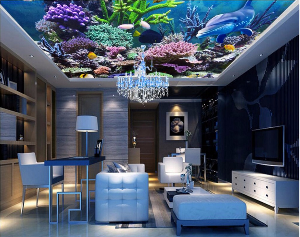 3d ceiling murals wallpaper custom mural photo coral sea for Decoration cost per m2