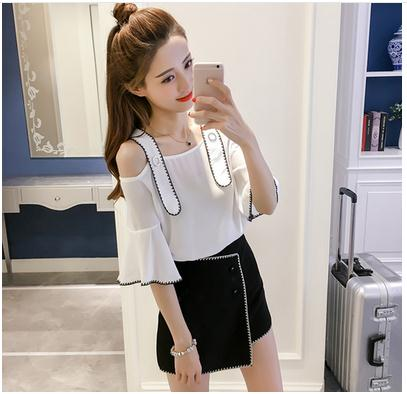 In 2017, the new word brought Han Fan chiffon unlined upper garment shoulder dewy shoulder shirt joker contracted shirt
