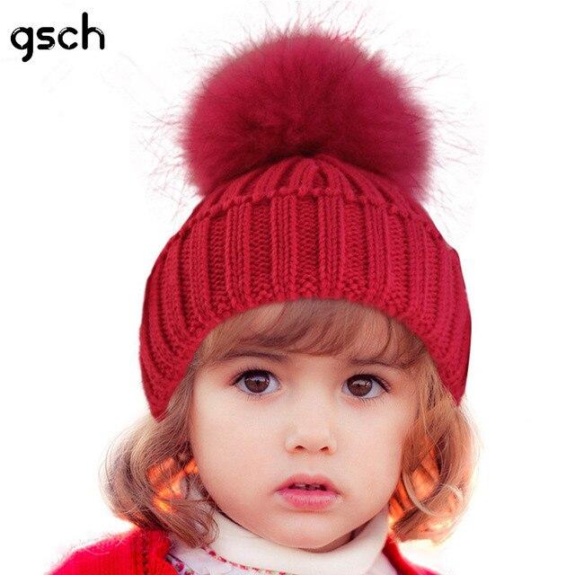 Ручной работы детская зимняя шапка с меховым помпоном трикотажные  Регулируемая Твердые Хлопок Дети Детские шапки новорожденных ae6e7837af46b