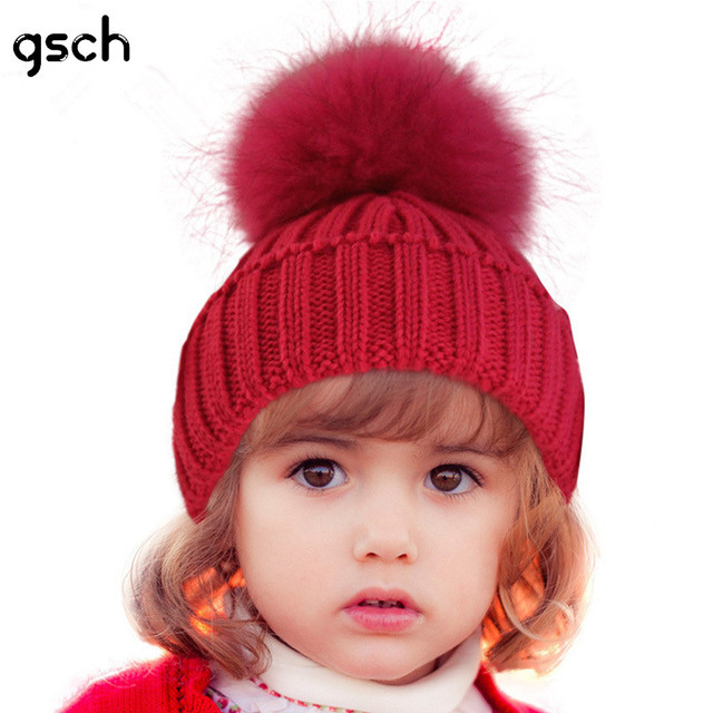 43ce9cabec2 Handmade Baby Winter Hat with fur ball Knitted Adjustable Solid Cotton Kids Baby  Caps Newborn Photography