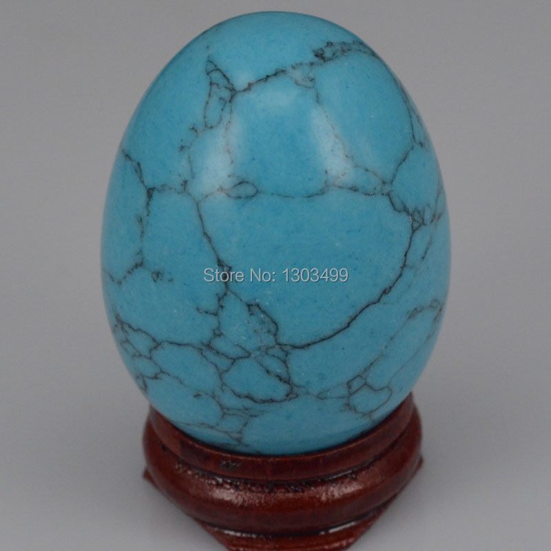 34x44MM Blue Turquoise Sphere Ei Heilung Reiki Crafts Stone Massage Finger Übung