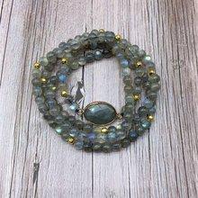 Бусины из натурального камня лабрадорита эластичный браслет
