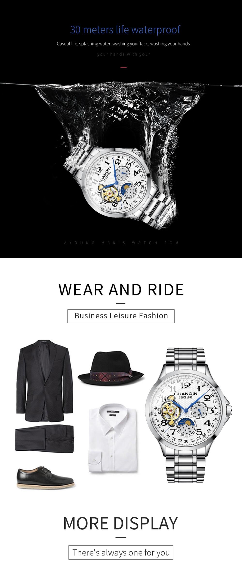 HTB13bmyalKw3KVjSZFOq6yrDVXa5 2019 Fashion GUANQIN Mens Watches Top Brand Luxury Skeleton Watch Men Sport Leather Tourbillon Automatic Mechanical Wristwatch