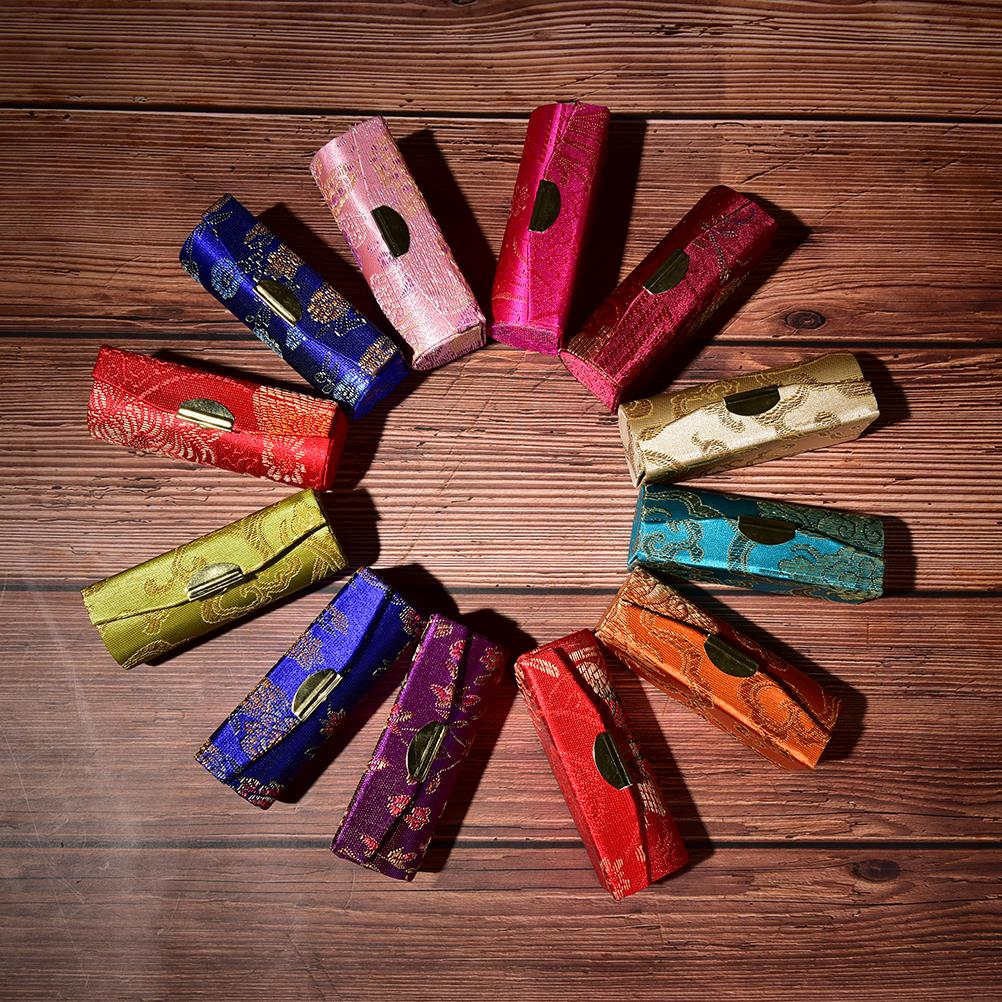 Display-Box Storage Jewelry-Holder Lipstick-Case Mirror Flower-Design Embroidered Retro