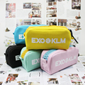 Youpop K-POP EXO KLM Logo 2016 KPOP Canvas Jewelry Admission Package Pencil Bags Cosmetic Case KPOP Student Stationery Kits