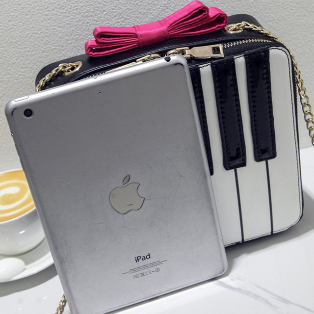 Styling Piano Shape Fresh Clutch Pink Bows Chain Shoulder Bag Sweet Girl's Hit Color Mini Flap Rock Vintage Keyboard Patterns