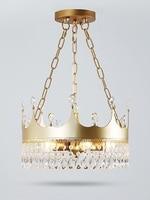 Creative Crown Pendant Lights Modern Fashion Round Crystal LED Hanging Lamp Nordic Light Fixtures Bedroom Pending Lighting