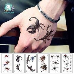 Rocooart 3D Scorpion Tattoo Stickers Spider Temporary Tattoo Halloween Joke Fake Tattoo Body Art Tatuajes For Makeup Party Taty