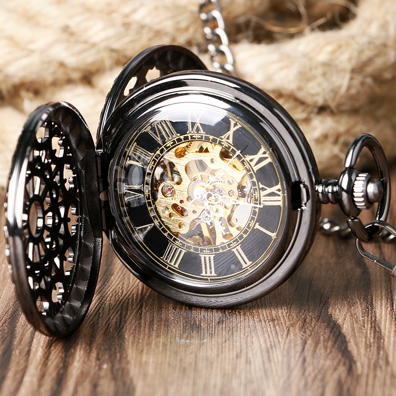 Retro Black Hollow Case With Roman Number Golden Skeleton Steampunk Dial Hand-Wind Mechanical Pocket Watch With Chain Gift ks black skeleton gun tone roman hollow mechanical pocket watch men vintage hand wind clock fobs watches long chain gift ksp069