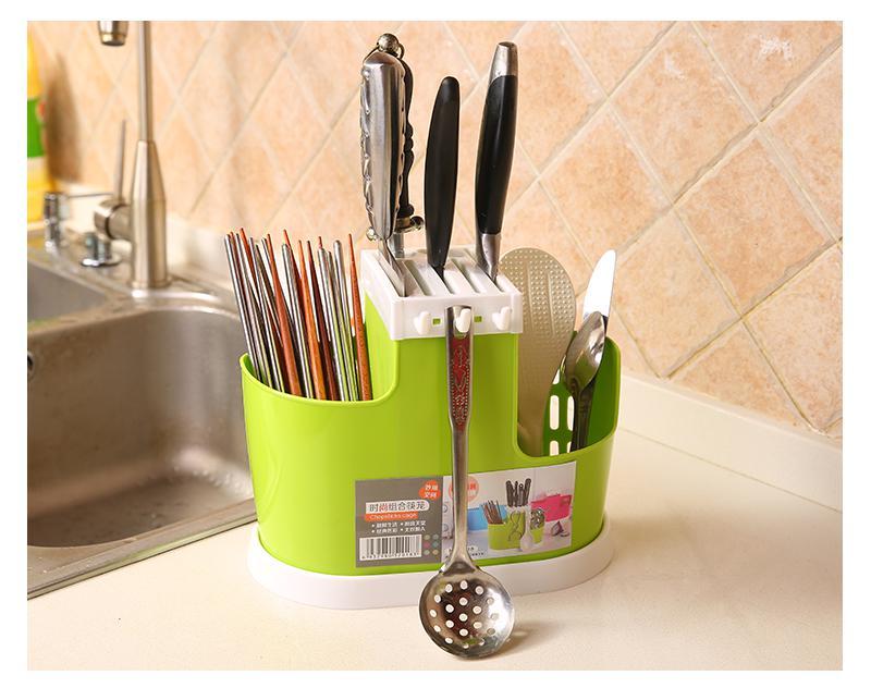 Мултифункционален държач за нож Пластмасов блок бар разделяне решетка барел пръчици клетка приставка за хранене стойка за ножове Кухненски инструменти